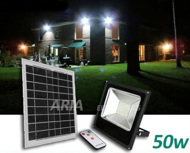 Led Προβολέας με Solar Panel 50w